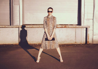 Wall Mural - Fashionable confident woman in dress with leopard print, female model holding handbag clutch posing evening casts a shadow on city street background