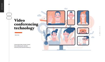 Technology 3 -Video conferencing technology - modern flat vector concept digital illustration video conference metaphor, digital communication. Creative landing web page design template