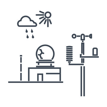 thin line icon weather station, radar