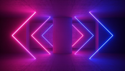 3d rendering, neon light, abstract ultraviolet background, glowing lines, laser rays, fashion stage, vibrant colors, empty room, tunnel, corridor, night club interior