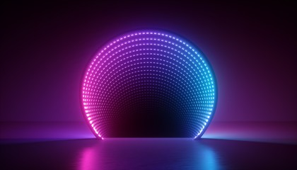 3d render, abstract ultraviolet background, pink blue neon light, round shape, portal, virtual reality, energy source, led, blank space, laser show Fototapete