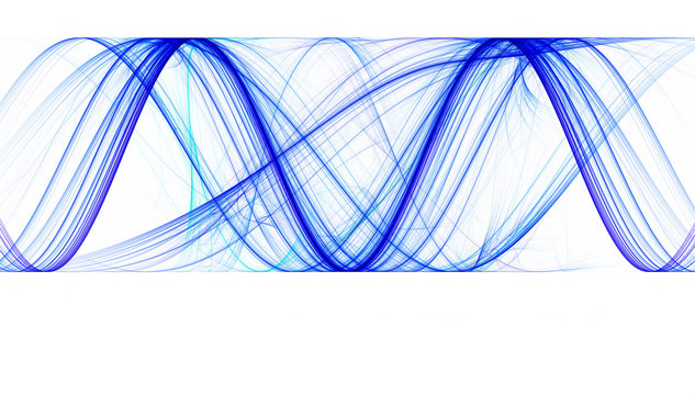 Blue sinusoids with identical amplitude on white background