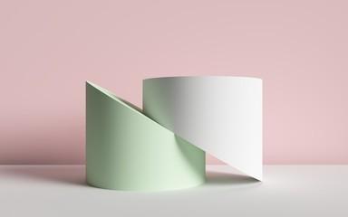 3d render, abstract background, cut cylinders, primitive geometric shapes, pastel color palette,...