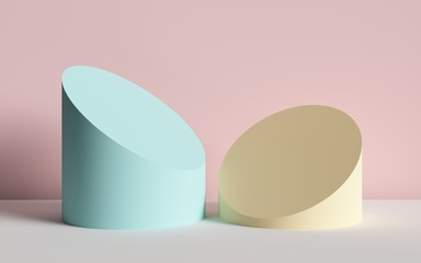 3d render, abstract background, cut cylinders, primitive geometric shapes, pastel color palette, simple mockup, minimal design elements