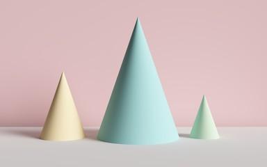 3d render, abstract background, cones, primitive geometric shapes, pastel color palette, simple mockup, minimal design elements