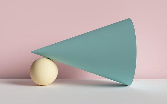 3d render, abstract background, cone, ball, primitive geometric shapes, pastel color palette, simple mockup, minimal design elements