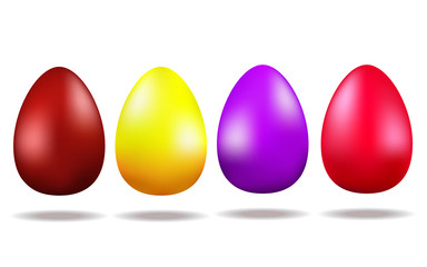 Set of colored eggs isolated on white background. Vector East