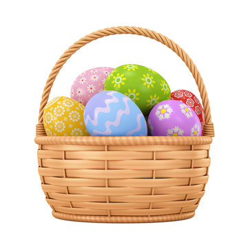 Easter eggs in a basket on a white background. 3d rendering. Illustration for advertising.