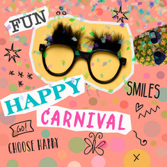 text happy carnival in a contemporary art collage