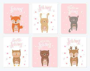 Vector poster collection with cute animals and spring slogan