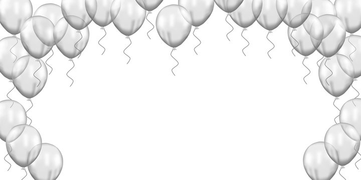 3d group Silver transparent balloon flying