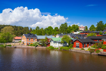 Summer landscape of old Porvoo town