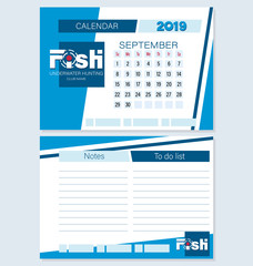 Calendar planner for September 2019. FISH. Underwater hunting. Set. Logo, month to make a list, notes. Planning life and business for the club of fans of underwater hunting, swimming, fishing.