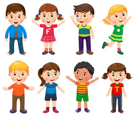 Happy children in different positions illustration