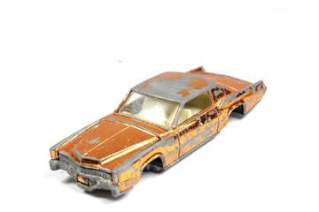Vintage Retro Sports Car Child Toy On White Background