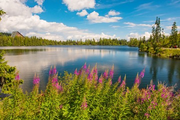 Mountain lake Strbske pleso in National Park High Tatras, Slovakia