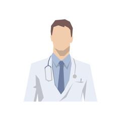 Doctor avatar icon in white coat, flat design face illustration. Senior consultant, medicine