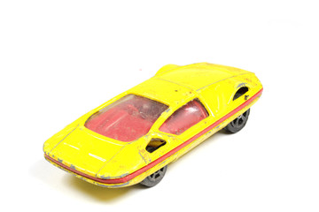 Vintage Retro Sports Car Child Toy On White Background