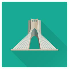 Azadi Tower at Tehran, Iran, flat design icon
