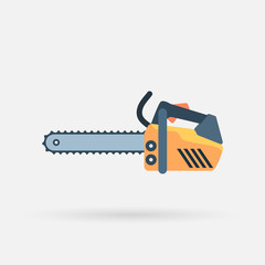 Isolated flat chainsaw icon with shadow on white background. Vector eps10 illustration