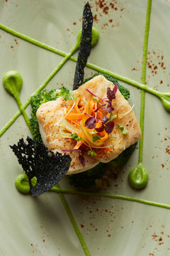 Turbot fish with steamed brocolli and sauce