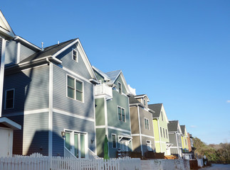 New colorful homes near downtown in Raleigh North Carolina