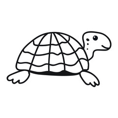 Turtle outline icon. Hand drawn vector  illustration for greeting card, t shirt, print, stickers, posters design on white background.