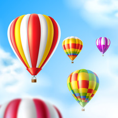 Vector hot air balloons on blue sky background