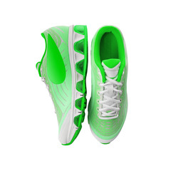 Unbranded modern sneakers isolated on a white background. Lime or green sneakers.