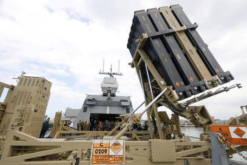 An Iron Dome interceptor system is seen on an Israeli missile boat during Israeli Prime Minister Benjamin Netanyahu's tour at a navy base in Haifa