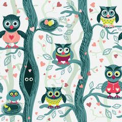 Canvas Prints Owls cartoon Owls in spring seamless pattern in Scandinavian style. Owls on a tree in a spring forest. Birds waiting for love. Vector background for fabric, textile, wallpaper, posters, gift wrapping paper, napk