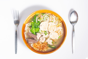 Vietnamese rice noodles cooked in Thai style on white background