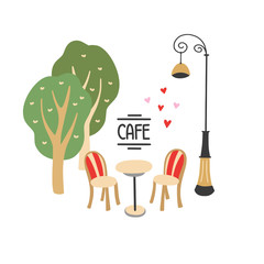 Street cafe in Paris vector illustration on white background. Two chairs, table and trees hand drawn graphic elements