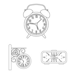 Vector design of clock and time icon. Collection of clock and circle stock symbol for web.