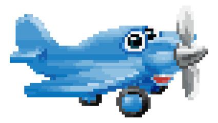 An airplane or aeroplane 8 bit pixel video arcade game art cute cartoon character
