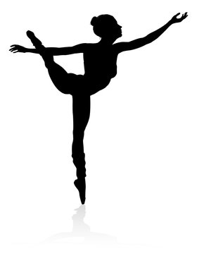 Silhouette ballet dancer woman dancing in a pose or position