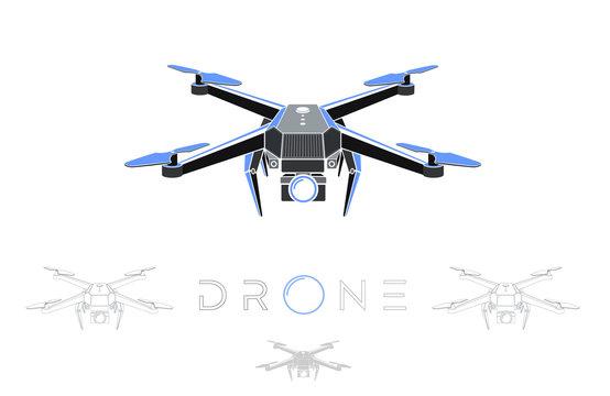 drone quadrocopter logo design, vector eps 10