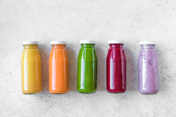 Colorful smoothies bottles