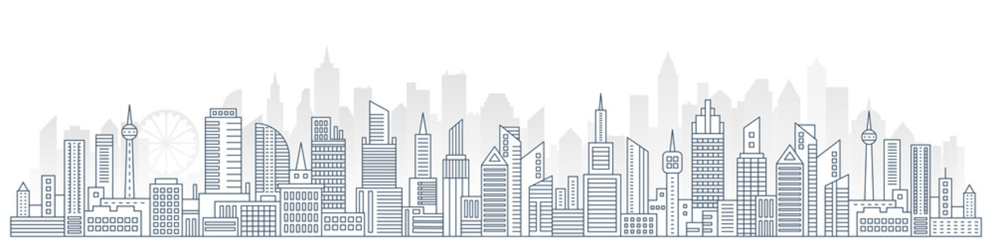 Flat line Urban Cityscape panorama. Real Estate and city construction outline header concept with modern skyscrapers vector Illustration.