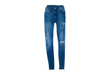 Blue ripped jeans flat lay. Fashion concept. Isolate on white background.