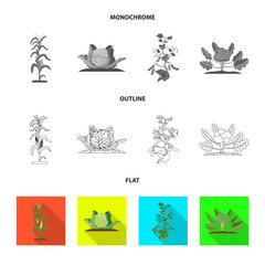 Isolated object of greenhouse and plant icon. Set of greenhouse and garden vector icon for stock.