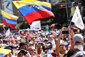 Opposition supporters take part in a rally to commemorate the Day of the Youth and to protest against Venezuelan President Nicolas Maduro's government in Caracas