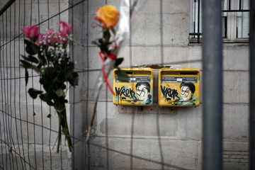 Vandalized mailboxes with swastikas covering portraits of the late Holocaust survivor and renowned French politician Simone Veil is seen before its renovation in Paris