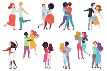 Male and female pairs of dancers. Men and women couple, Group of happy dancing people. People dance party vector illustration.