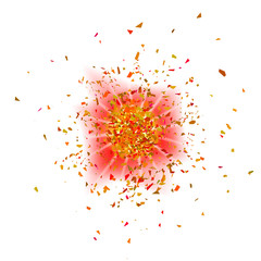 Explosion Cloud of Pieces on White Background. Sharp Particles Randomly Fly in the Air.
