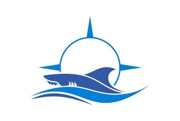 shark compass sea abstract logo icon