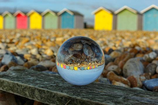 Beach Huts, through a Lensball