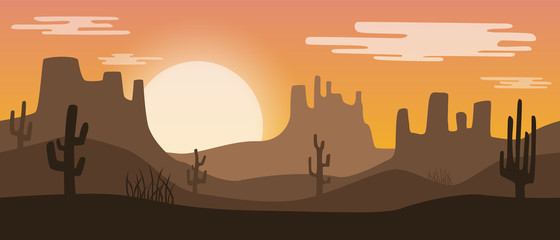 Beautiful widescreen orange sunset desert landscape with sandstone mountains and cactus plants.