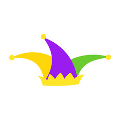 Mardi Gras jester hat flat icon. Clipart image isolated on white background