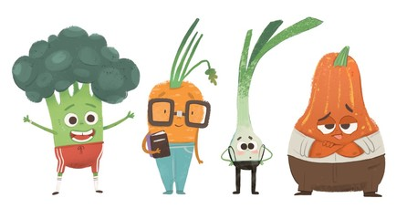 Set of cute vegetables with faces and clothes. Hand drawn colored illustration